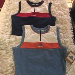 Adidas -  2 athletic crop tops front zipper.😄👟